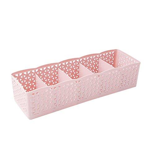 5 Zellen Stapelbare Socken-Aufbewahrungsbox Kunststoff Organizer Aufbewahrungsbox Tie Bra Socken Schublade Cosmetic Divider Aufbewahrungstasche Sammelbox (Pink)