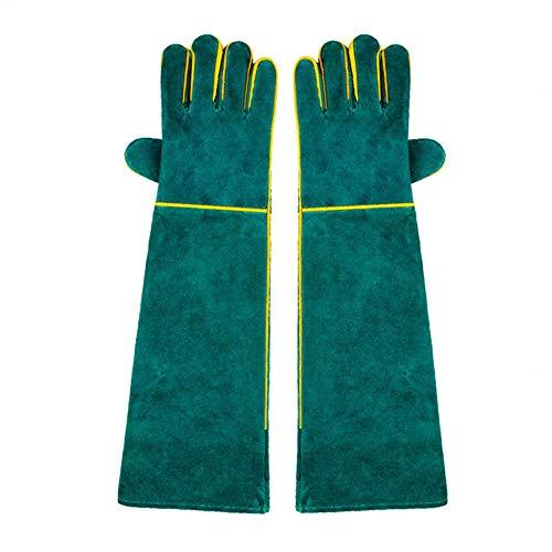MOXIN Schweißerhandschuhe Wildleder Leder Schnitt resistent schweiß hitzebeständig Leichter arbeitshandschuh für Grill Handschuhe lederkamin,Green