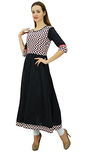 Phagun Robe de la Femme Kurti Coton Indien Ethnique Anarkali Kurta Noir