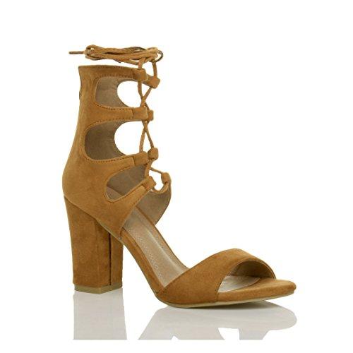 Damen Hohe Absatz Ausgeschnitten Schnür-Pumps Peep Toe Schuhe Sandalen Größe Hellbraun Wildleder
