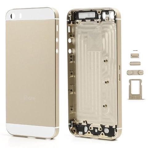 iPhone 5S, Rückseite Gehäuse, fogeek Neue Set komplett mit Glas weiß W/Seite weiß Trim Gehäuse aus Metall für Notebook für iPhone 5S 5GS Knöpfe (W/SIM Karte Tablett)