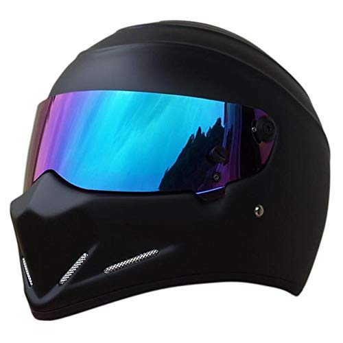 LEAGUE&CO Motorrad Helmets Helm Motorradhelm Helmets Alien Integralhelm Visier Offroad Racing Motocross für Honda Yamaha Suzuki Kawasaki Bandit Helm (M, Schwarz (Getönte))