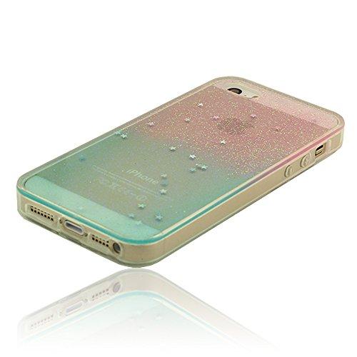 Lucente Glitter Superficie iPhone 5 5S Custodia, Protettivo Skin Cover Case per Apple iPhone 5 5S 5G ( iPhone 5C Non Adattarsi ) Policromo Colorato Stile Graduale Cambiamento Colore, Morbida Trasparen D