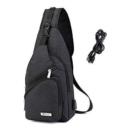 Light rain zaino monospalla crossbody spalla borsa da viaggio sport all' aria aperta, per donna, uomo (nero)