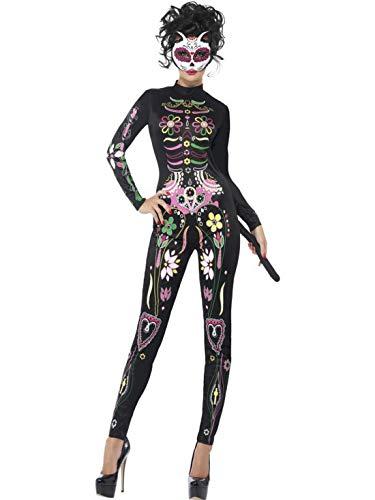 costumebakery - Damen Frauen Kostüm bunter Tag der,Toten Overall Einteiler, Day of The Dead Catsuit Calavera Cat perfekt für Halloween Karneval und Fasching, XS, Schwarz Devil-catsuit