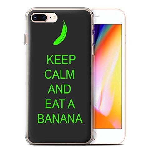 Stuff4 Gel TPU Hülle / Case für Apple iPhone 8 Plus / Tee Trinken/Braun Muster / Bleib Ruhig Kollektion Essen eine Banane/Grün