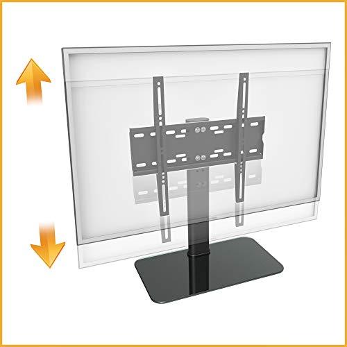 RICOO TV Standfuß Ständer, FS304-B für 30-55 Zoll (ca. 76-140cm) mit Kabelmanagement Universal Fernseh Halterung Stand Fernseher Fernsehständer Flachbildschirme | VESA 200x100 400x400 Schwarz Glas