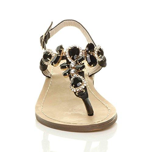 Damen Klein Mitte Blockabsatz Diamant Juwel T-Riemen Zehntrenner Sandalen Größe Schwarz
