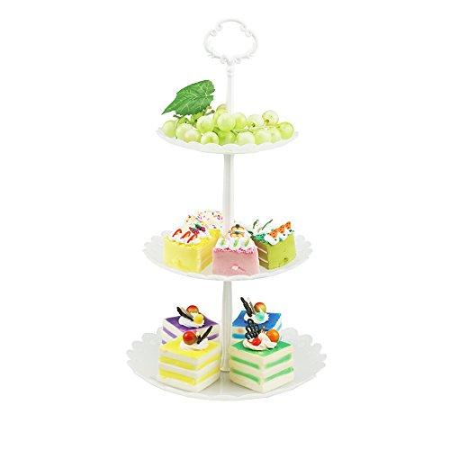 hetoco 3-Tier-weiß Kunststoff Dessert Ständer Gebäck Ständer Kuchen Ständer Cupcake-Ständer Halterung Servierplatte für Party Hochzeit Home Decor farblos