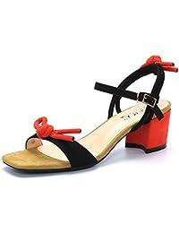 MeiMei Sandales Femme Plat Noeud Papillon avec de Petites Chaussures Femmes Chaussures High-Heel Frais D'Épaisseur avec des Fées