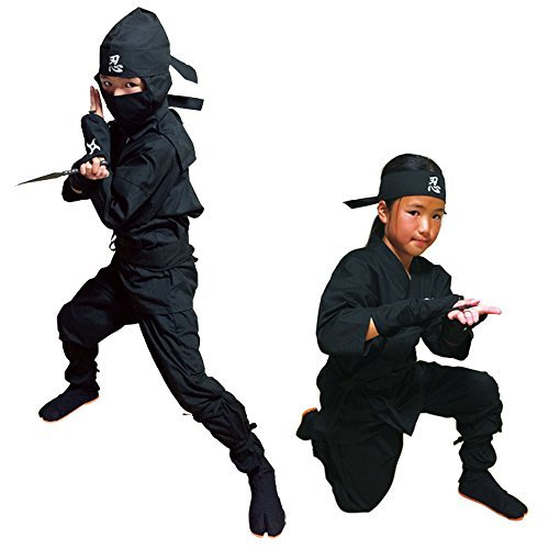 Kinder Halloween Ninja Kostüm, Samurai Ninja Uniform (Schwarz, 3L- Large (4.59-4.92ft))
