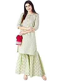 Khushal K Women's Cotton Printed Kurta With Sharara Palazzo Set