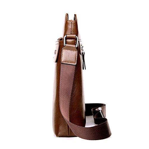 Schulter Messenger Bag Herren Tasche Business Ledertasche Vertical Edition Rucksack Brown
