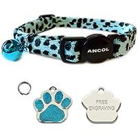 Collar de liberación rápida para gato color turquesa y estilo leopardo con impresión de huellas grabadas y brillo con placa de identificación