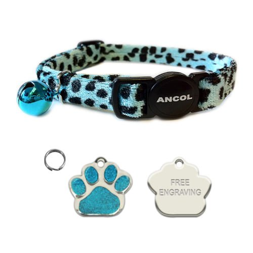 ANCOL Cat Turquoise Leopard Print Quick Release Collar With Engraved Paw Print Shaped Glitter Cat ID Tag