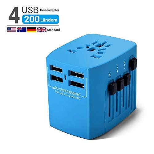 HANPURE 2000W Reiseadapter, Universal Reisestecker, Travel Adapter mit 4 USB 3.0 Anschluss, Internationale Ladegeräte für Deutschland, USA, UK, Spanien, Kanada, Kuba, Japan über 200 Ländern (Blau) - Uk Ladegerät