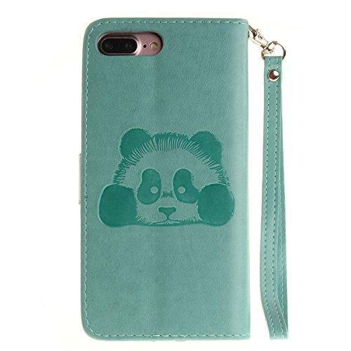 Voguecase Pour Apple iPhone 7 Plus 5,5 Coque, Étui en cuir synthétique chic avec fonction support pratique pour Apple iPhone 7 Plus 5,5 (Panda-Noir)de Gratuit stylet l'écran aléatoire universelle Panda-Vert