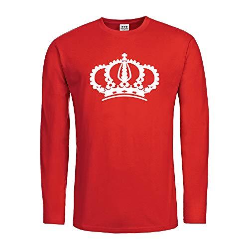 dress-puntos Herren Langarmshirt Krone Crown Grafik Symbol Textil red Motiv Weiss Gr. ()