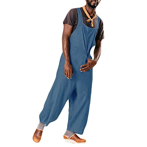 Dwevkefu Herrentasche Pure Color Overall Jumpsuit Streetwear HosenträGerhose Casual Bermuda Lose Outdoor Arbeit Fit Chino