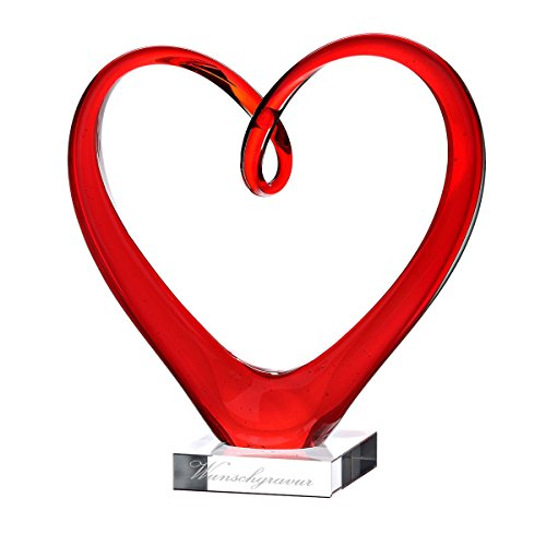 Glasskulptur in Herzform Glas-Vase mit Gravur (Vase Glas Herz Rot)