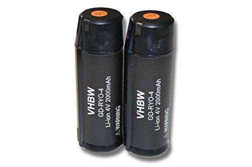 vhbw 2x Li-Ion Akku 2000mAh (4V) für Werkzeuge RP4900, TEK 4, TEK4, Ryobi AP4001, Ryobi CSD42l, Ryobi RGS410 Strauchschere wie Ryobi AP4001.