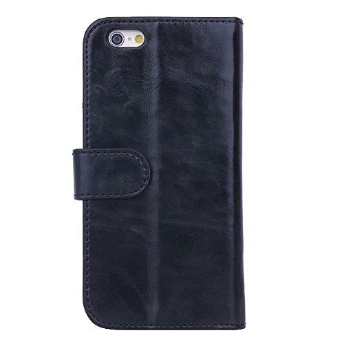 iPhone 6Cas, de haute qualité pour téléphone sac multifonction Support PU Housse en cuir pour iPhone 4.7 noir
