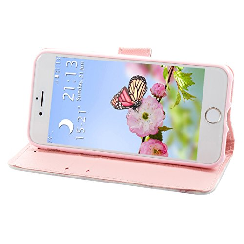 iPhone 7 Schutzhülle Leder, iPhone 7 Wallet Case, iPhone 7 Hülle, iPhone 7 Book Case, Moon mood® Brieftasche Ledertasche für Apple iPhone 7 (4.7 Zoll) Tasche Hülle Leder Etui, PU Leder Cover Hülle Fol N Marmor 2