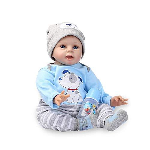 ZIYIUI Muñecas Reborn 55cm 22 Pulgadas Vinilo de Silicona Suave Realista Muñeca Reborn Hecho a Mano Recién Nacido Niño Ojos Abiertos Reborn Doll Juguete