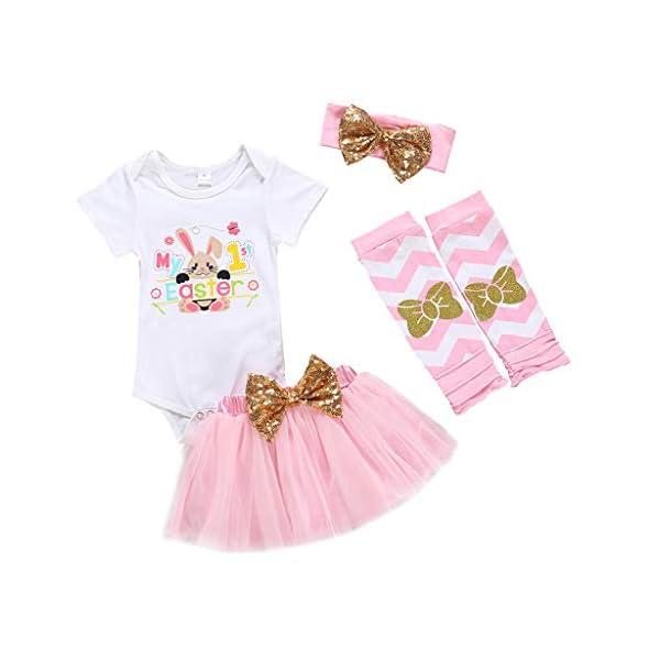 BBSMILN Ropa Bebe Niña de Easter 0 3 a 12 Meses de Recién Nacido Bebé Infantil - 2PC/Conjuntos - Conejo Mameluco + Falda… 1