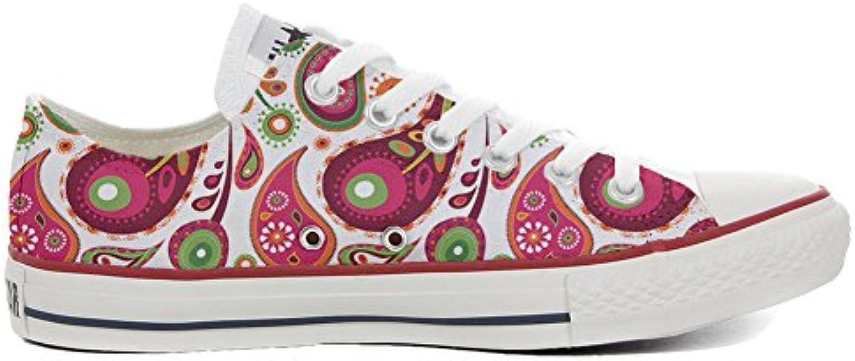Converse Personalizzate Personalizzate Personalizzate all Star Slim scarpe da ginnastica Unisex (Prodotto Artigianale) bianca verde Paisley 2 Dimensione 35 EU | Prestazioni Affidabili  75983e