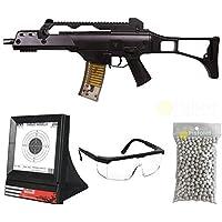 saigo Paquete Completo con Accesorios - Arma para Airsoft, Modelo G36 Defense, con Resorte, 0,5 Julios, Color Negro, Recarga Manual