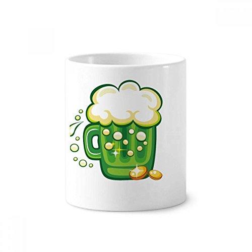 DIYthinker Four Leaf Clover Bier Irland St.Patrick Tag Keramik Zahnbürste Stifthalter Tasse Weiß Cup 350ml Geschenk 9.6cm x 8.2cm hoch Durchmesser -