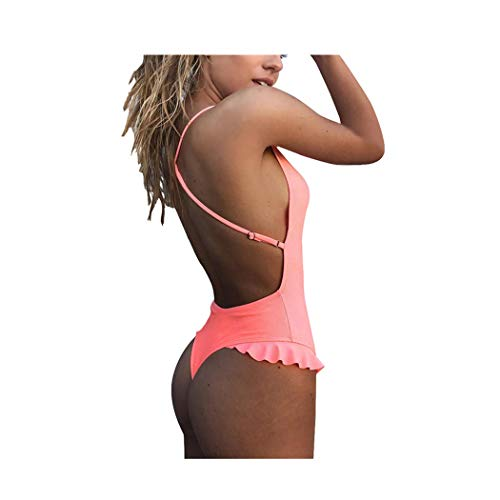 Byste costumi da bagno estate donna trikini costumi da bagno costume intero push up bikini backless sexy balze swimsuit one piece coordinati beachwear (rosa, s)