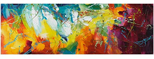 KunstLoft® Acryl Gemälde \'Bright Future\' 150x50cm | handgemalte Leinwand Bilder XXL | Abstrakte Kunst Pink Gelb Blau Regenbogen Küche Schlafzimmer | Wandbild Acrylbild einteilig mit Rahmen