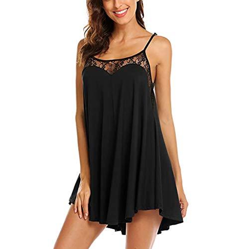 sunnymi Frauen Kleid, Ärmelloses Nachtwäsche Nachthemd Spitze Schlinge Mini Weste Kleid (Größe Women Slim Korean Plus Kleid)