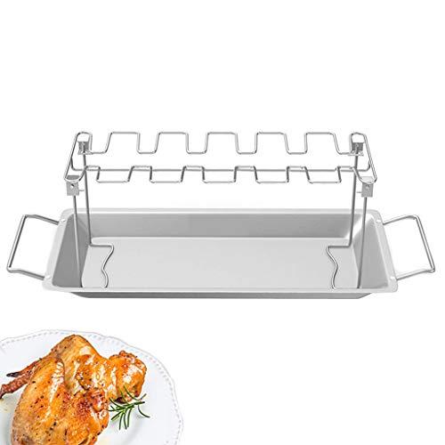 Herramientas Pollo Ala pierna rack para parrilla horno ahumador acero inoxidable vertical asador soporte...