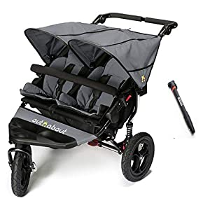 Out n About V4 Double Stroller Plus Free Tyre Pump - Steel Grey   9