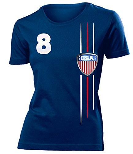 Frauen-fußball-trikot (USA 3300 Fussball Fanshirt Fan Shirt Tshirt Fanartikel Artikel Frauen Damen T-Shirts Navy L)