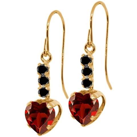 2.00ct Forma De Corazón Rojo Granate Black Diamond Pendientes de oro amarillo de 14K Cadena De 18