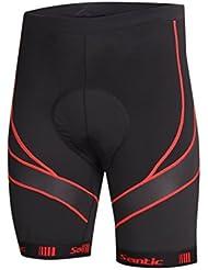 Santic Pantalones Cortos de Ciclismo de 4D COOLMAX Padded para Hombres de Color Rojo Talla L