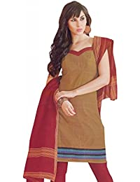 Lavis Brown & Red Pure Cotton Dress Material