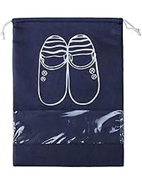 10 piezas de bolsa de almacenamiento portátil plegable transparente ventana a prueba de polvo no tejido de zapatos con cordón bolsa de viaje Telas, 36 x 27cm , color azul