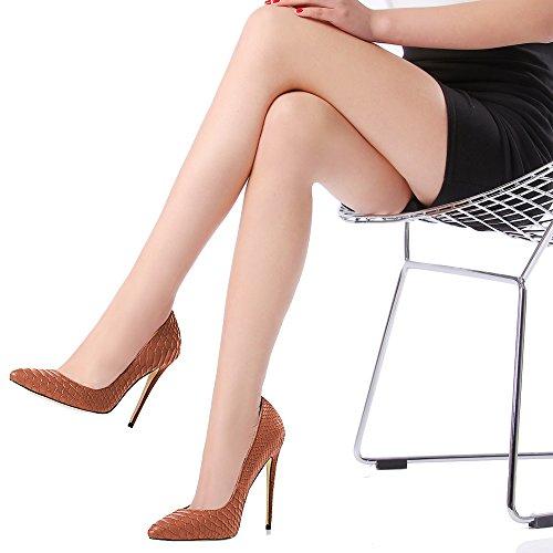MONICOCO Übergröße Stiletto High Heels Spitze Zehen Tiermuster Geprägt Damenschuhe Pumps Für Party Braun