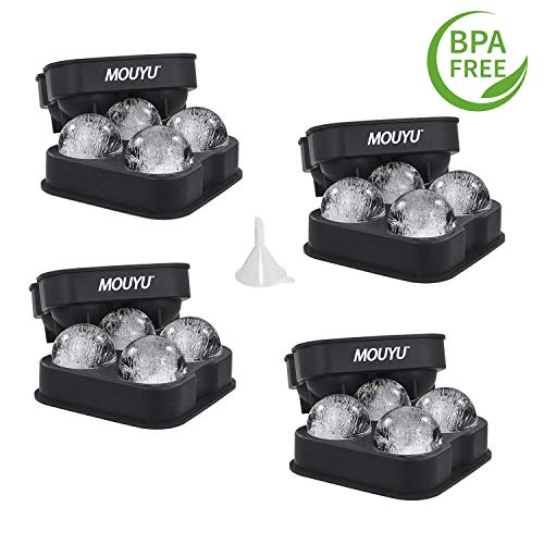4X Premium Flamen XXL ICE Ball Maker Mold, 4X Jumbo Ice Spheres Through BPA Free, Food Grade Quality Silicone Press, Best Ice Baller Tray Gadget for Whiskey, Gin and More, The Essential BAR Accessory