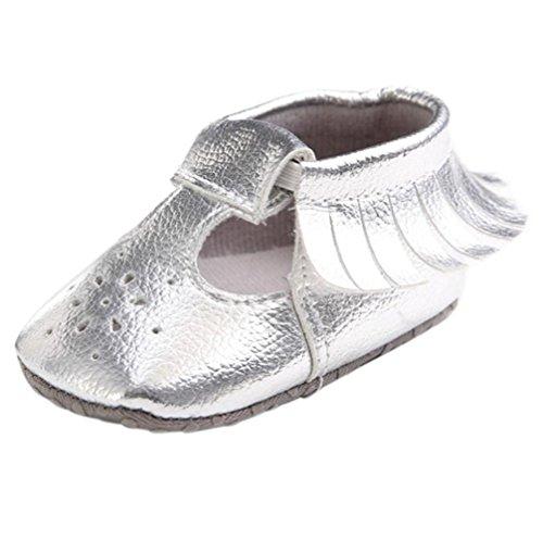 WOCACHI Nette Baby Mädchen höhlen heraus Quasten Schuhe aus Anti Rutsch weiche Sole Kleinkind Schuhe Krabbelschuhe Sandalen (13CM, Gold) Silber