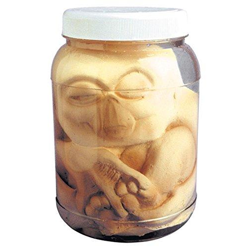 NET TOYS E.T. Alien Embryo im Glas Halloween Tischdeko hautfarben Halloweendeko Gruselige Dekoration Außerirdischer Gruseldeko