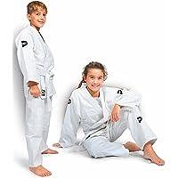 GREEN HILL JUDOGI Junior 350 g/m2 Judo GI Uniforme Blanco Azul Kimono Traje JU Jitsu Unisex (Blanco/Verde 90)