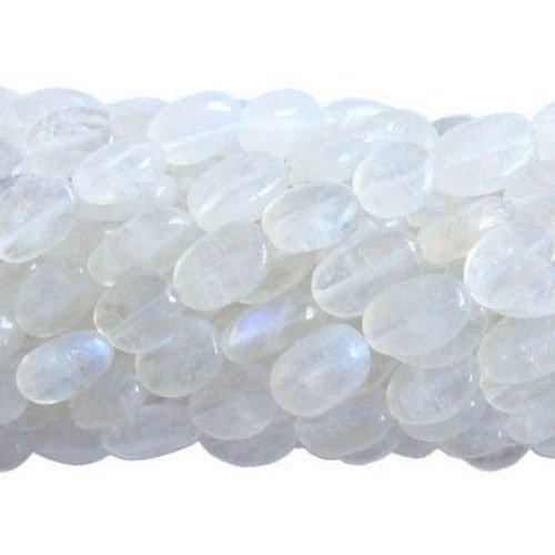 30+ Weiß Regenbogen Mondstein ca. 5 x 7mm-7 x 9mm Handgefertigt Oval Perlen - (DW1685) - Charming Beads (5 Regenbogen-akzenten)