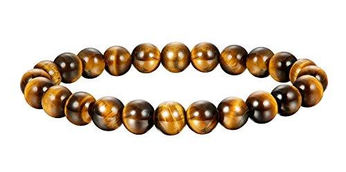 BE STEEL Schmuck Natur Stein Armbänder für Herren und Damen Armband Mala Elastisch 8mm Gelbes Tigerauge