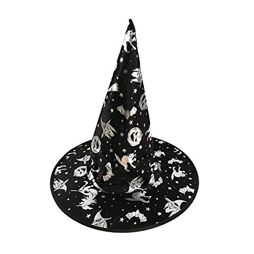 Kinder Hexe Hut, Bunte Silber Gold Folie Muster Dekor Kinder Kostüm Maskerade Kostüm für Halloween Party Cosplay Bühnenperformance (Folie Hut Kostüm)